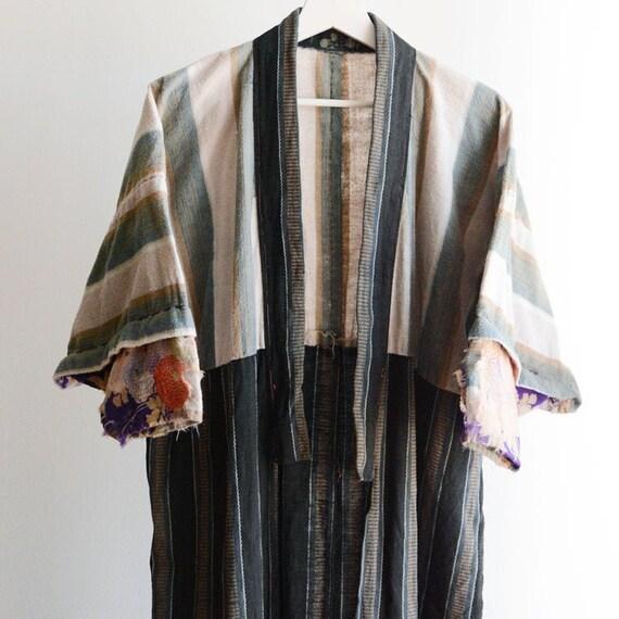 Juban Kimono Robe Crazy Pattern Japan Vintage Flan