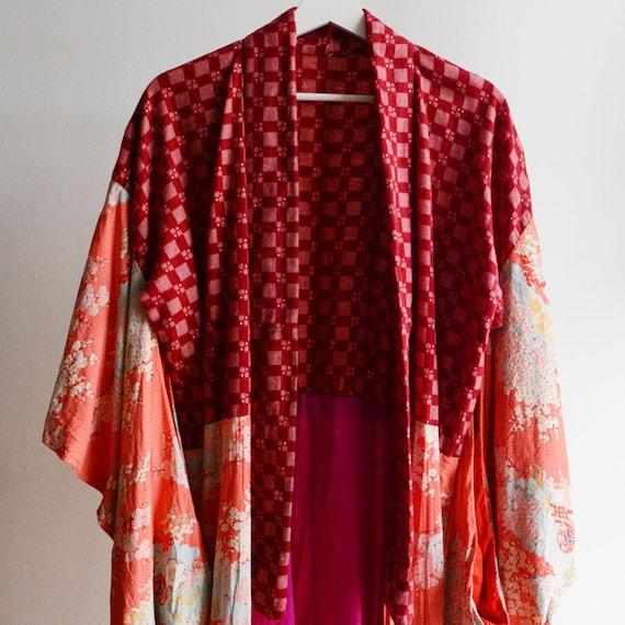Juban Kimono Robe Japanese Vintage Crazy Pattern 3