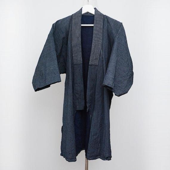 noragi jacket men indigo kimono japan vintage cott