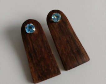Walnut and Blue Topaz 10 KT Gold Earrings