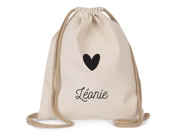 Customizable school bag| Small drawstring backpack - Child size | recycled cotton| Schoolbag
