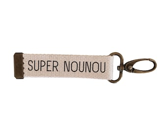 Key ring strap Super nanny | cotton| with | message carabiner| customizable