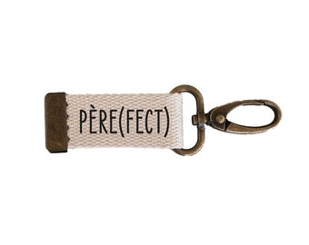 Key ring strap Father(fect) | cotton| with | message carabiner| customizable