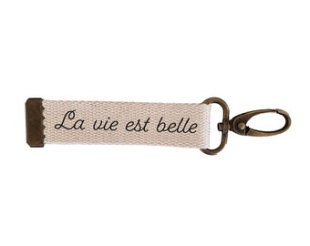 Key ring strap Life is beautiful | cotton| with | message carabiner| customizable