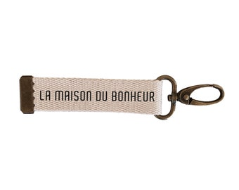 Key ring strap The house of happiness | cotton| with | message carabiner| customizable