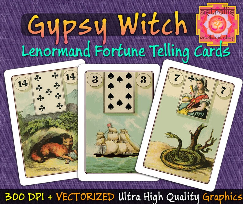 Lenormand Cards, Gypsy Witch Lenormand Cards, gypsy witch fortune telling  cards, Lenormand fortune telling cards, Lenormand card meanings