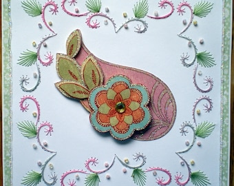 Embroidered no greeting, with paisley pattern card