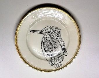 vintage porcelain dessert plate, round, black bird décor kingfisher stylized hand-painted