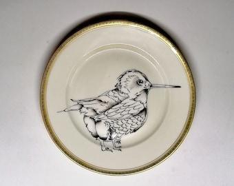 vintage porcelain plate, round, hand-painted bird decoration
