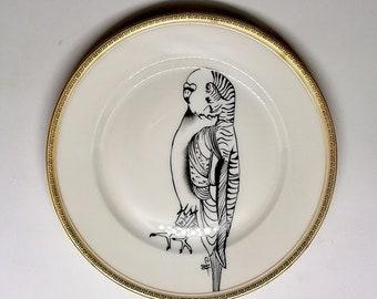 vintage porcelain plate, dessert, round, hand-painted stylized black parakeet