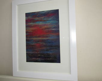 This beautiful needle felted wall art is one of natures amazing sunsets