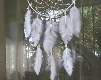 """Dreamcatcher 7 """"-White & Silver-JAIAWEL Handmade Crafts 46."""