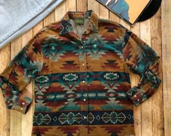 a91b59104f0ea Vintage Southwestern Aztec Cowboy Button Up Shirt Cabelas Brand Mens Size  Large X Large Bolo Tie Streetwear