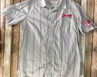 5d00bb43 Budweiser Logo Button Up T-shirt Work Shirt Budweiser Beer Patch Size XL