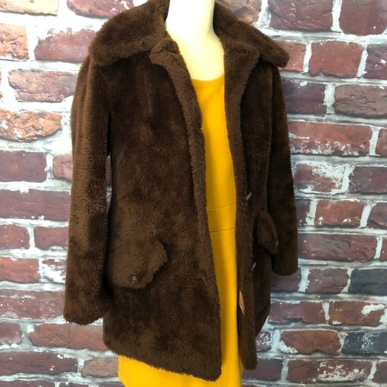 79ae98bbbb7 Vintage 1960s Sears Brown Teddy Coat Fur Peacoat Jacket