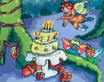 Fairy party gouache illustration print 8x10