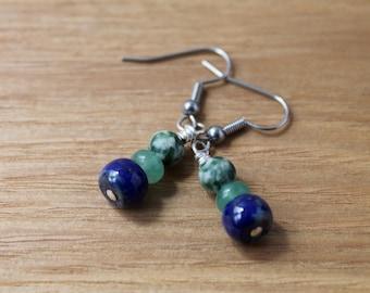 tree agate, aventurine and lapis lazuli earrings