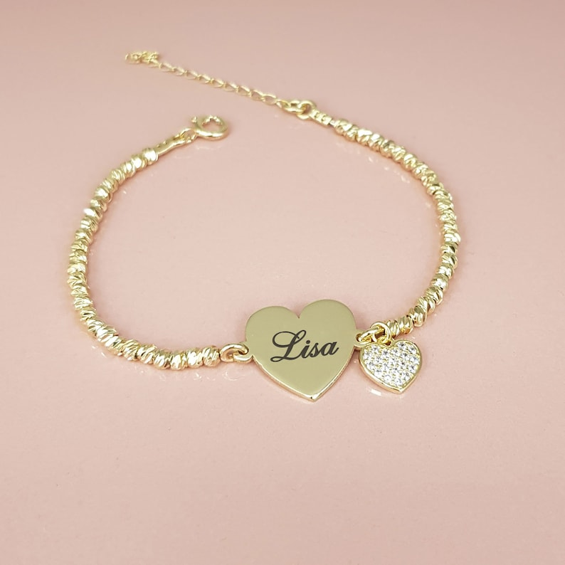 Valentine/'s Gift Customized Hearts Personalized Love Charm Heart Bracelet Custom Old English Font Name Bracelet Laser Beads Jewelry