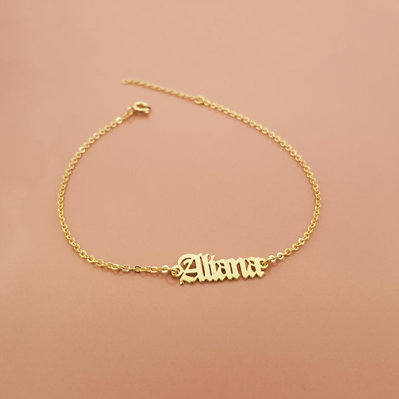 Dainty Charm Letters Ankle Bracelet Name Jewelry Personalized Name Bracelet Birthday Gift Ideas Customize Anklet Custom Name Bracelet