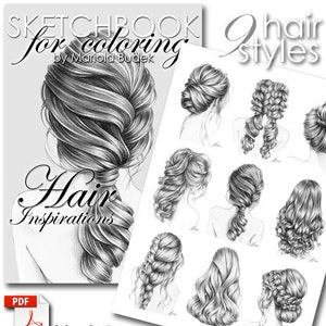 Hair Inspirations Romantic Mariola Budek Sketchbook Etsy