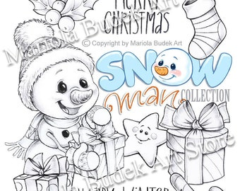 Snowman Collection - Gift   Mariola Budek - Digital Stamp   Page Digi Stamp Digistamp Clip Art Card Making Craft Tools Snowman Christmas