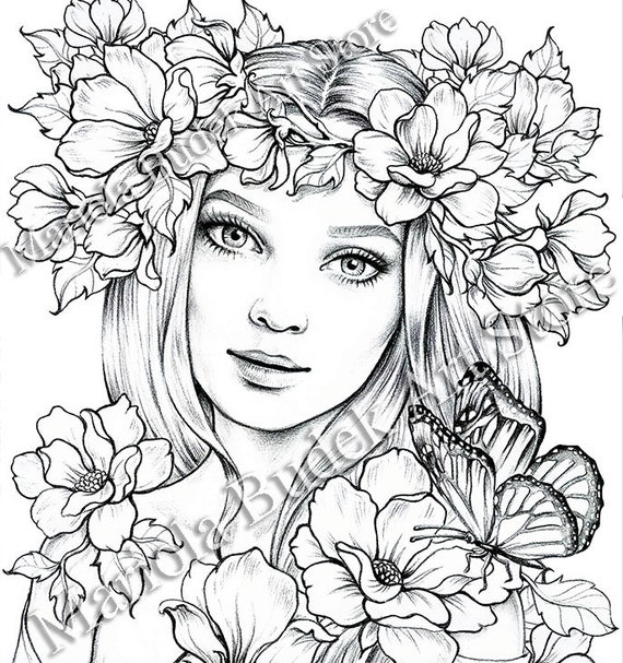 Lady spring mariola budek premium coloring page etsy for Selling coloring pages on etsy