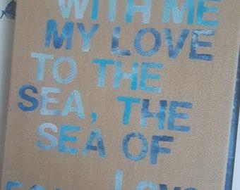 Custom Art with Lyrics,poem, quote Medium Canvas