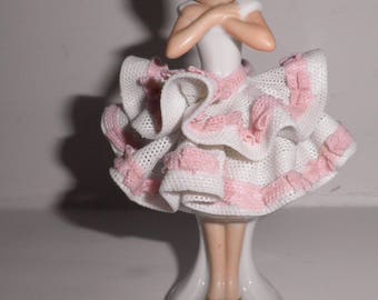Vintage German Sandizell Hoffner & Co. Porcelain Dresden Pink Lace Girl Figurine