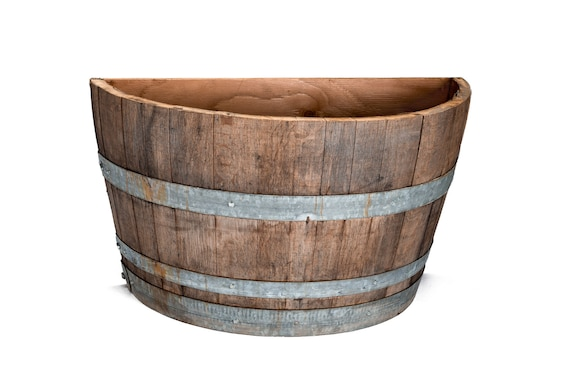Half Wine Barrel Wall Planter Etsy