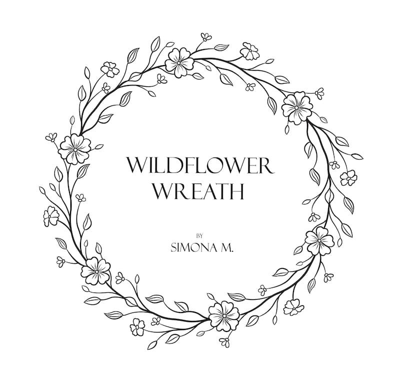 Wildflower Wreath Vine hand drawn LOGO art/Clipart/Vector/SVG/PNG