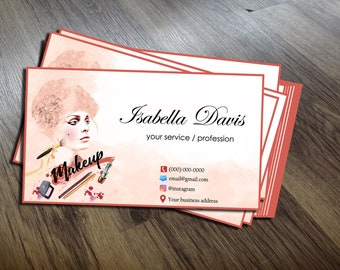 Makeup artist business cards etsy watercolor business cards template makeup artist business card business cards personalized business card design instant download colourmoves