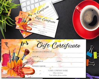 makeup printable gift certificate template beauty salon gift certificate gift editable template voucher stylist cards digital download - Makeup Gift Certificate Template