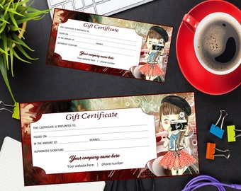 gold double sided gift certificate template printable gift etsy
