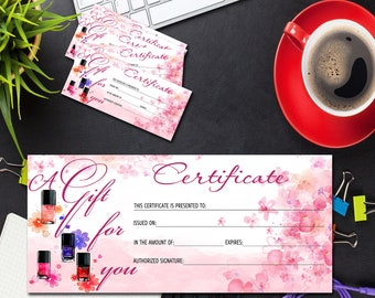 salon gift certificate template etsy