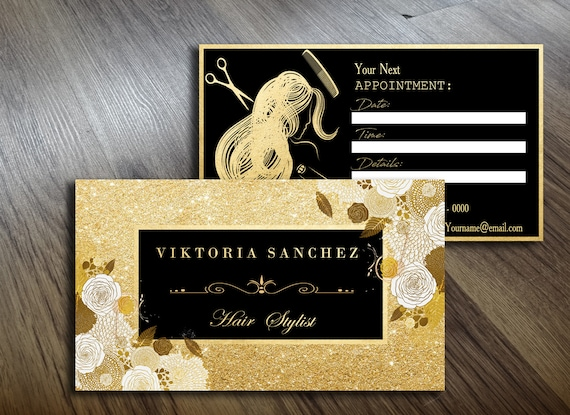Hair Stylist Gold Business Cards Template Appointment Cards Etsy