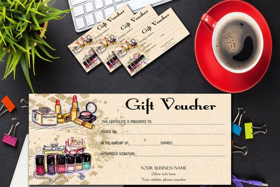 Beauty Salon Gift Voucher Template Gift Certificate Etsy