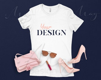 Download Free White T-Shirt Luxury Mockup-Ladies The Boyfriend Tee Mockup-Bella canvas Mock Up-Shirt Flat lay Mockup-Styled Apparel Mockup-Blue and Pink PSD Template
