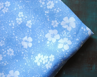 Vintage fabric Estonian Soviet boho gypsy blue white floral 2.7 yards in 1 listing