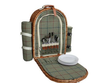 Green Tweed Fitted Picnic Back Pack Wicker Basket