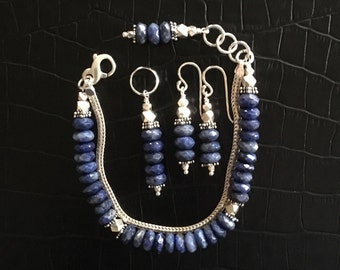 faceted sodalite and sterling silver jewelry set