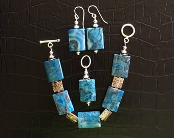blue crazy lace agate and sterling silver jewelry set