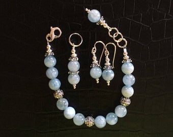 aquamarine and sterling silver jewelry set