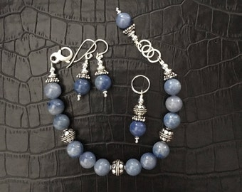 blue aventurine and sterling silver jewelry set