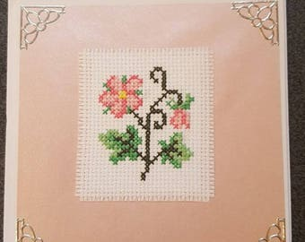 Cross Stitch Greeting Card, Birthday, Thank You, Get Well Soon, Pink, Flower, Floral, Handmade