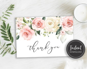 Floral Vintage Wedding Gift Digital Instant download Watercolour Rose Thank You folded Card