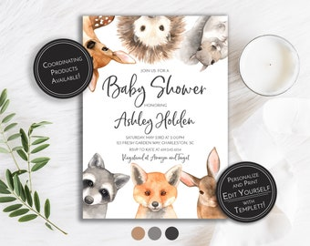 image about Free Printable Woodland Baby Shower Invitations titled Woodland fox invite Etsy