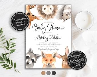 photograph regarding Free Printable Woodland Baby Shower Invitations named Woodland fox invite Etsy