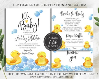 Rubber Duck Baby Shower Bundle, Invitation, Books Card, Diaper Raffle, Thank you, Yellow Gender Neutral Instant Downloads Template, BA-149