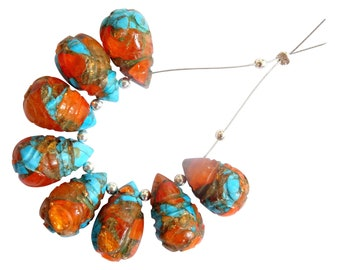 AM29 Oyster Copper Turquoise Carved Heart Shape Beads Oyster Copper Turquoise Faceted Heart Briolettes