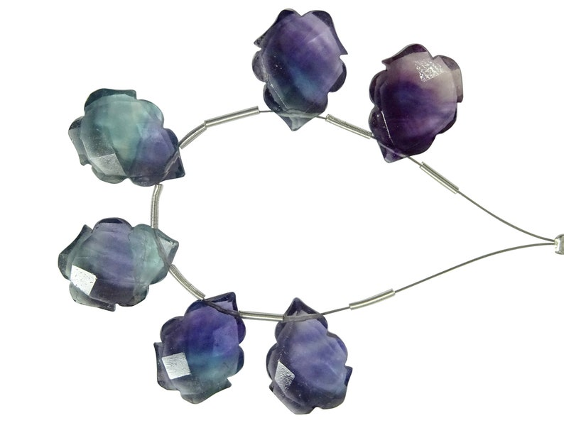 13*17MM Approx 6 Pieces Nice Quality Bi-Shade Fluorite Faceted Fancy Carved Briolettes Fluorite Fancy Briolettes Beads XYZ120
